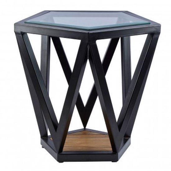 Ciao Clear Glass Top Pentagon Side Table With Black Metal Base