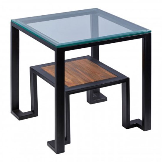 Ciao Clear Glass Top Side Table With Black Metal Base