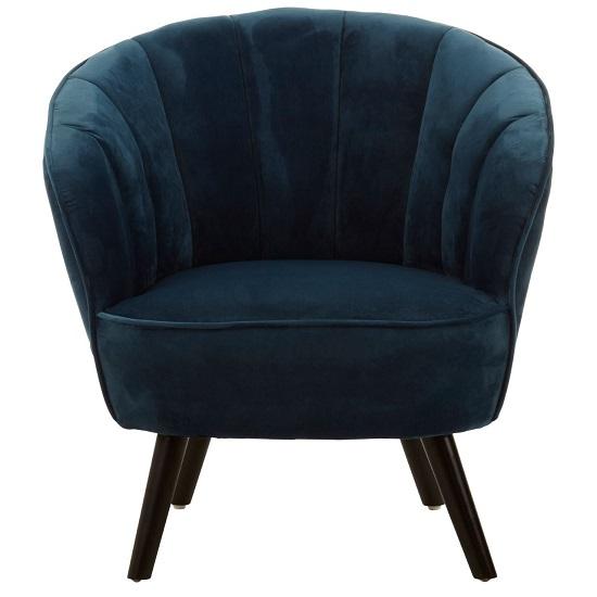 Product photograph showing Barnard Tub Style Velvet Upholstered Bedroom Chair In Blue