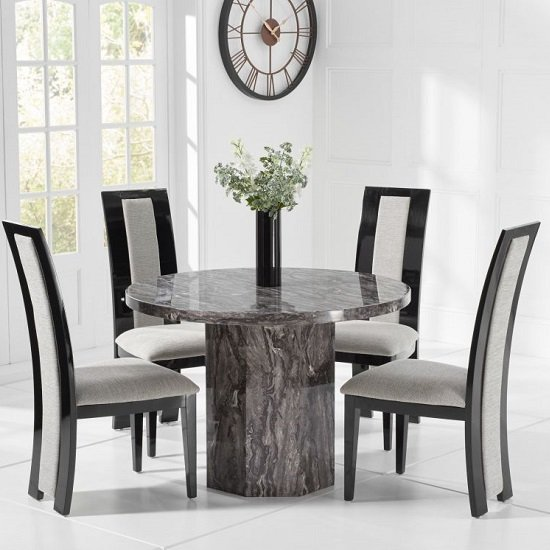 Cierra Grey Marble Effect Dining Table With 4 Allie Dining Chair