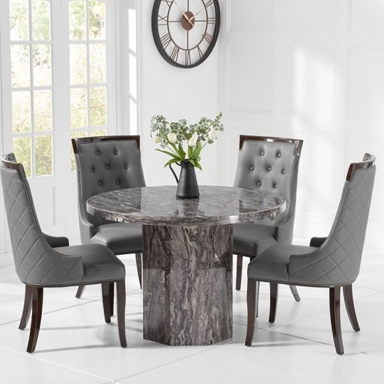 Cierra Grey Marble Effect Dining Table With 4 Tulip Dining Chair