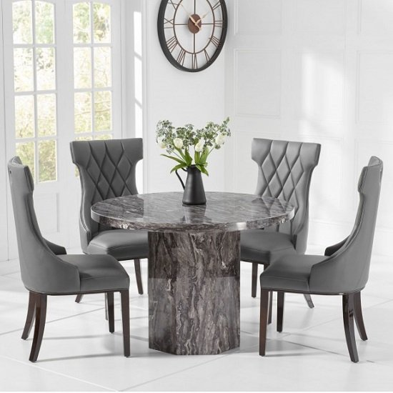Cierra Grey Marble Effect Dining Table With Tybrook Dining Chair