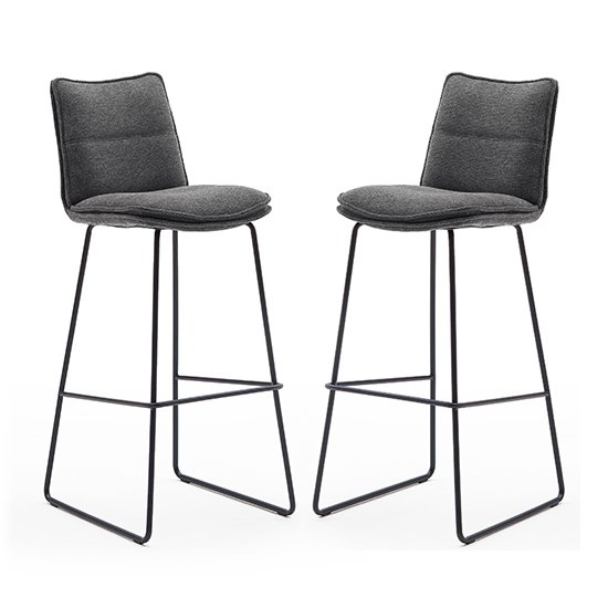 Ciko Anthracite Fabric Bar Stools With Matt Black Legs In Pair