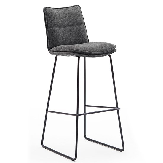 Ciko Fabric Bar Stool In Anthracite With Matt Black Steel Legs