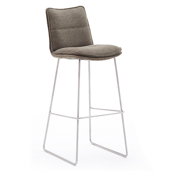 Ciko Fabric Bar Stool In Cappuccino With Brushed Steel Legs