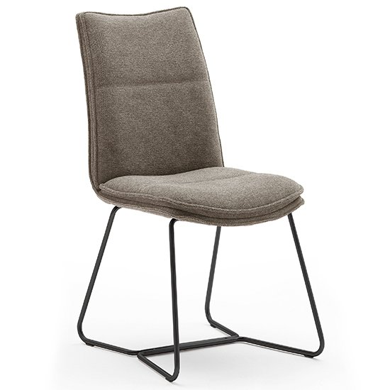 Ciko Fabric Dining Chair In Cappuccino With Matt Black Legs