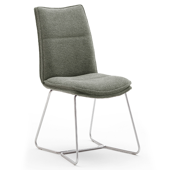 Ciko Fabric Dining Chair In Olive With Brushed Legs