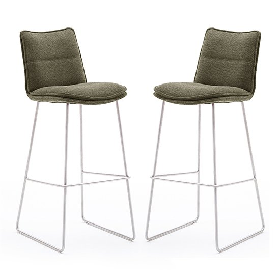 Ciko Olive Fabric Bar Stools With Brushed Legs In Pair