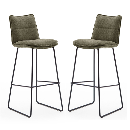 Ciko Olive Fabric Bar Stools With Matt Black Legs In Pair
