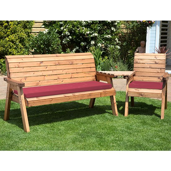 Cimo Angled 3 Seater Bench And Chair Set And Burgundy Cushion