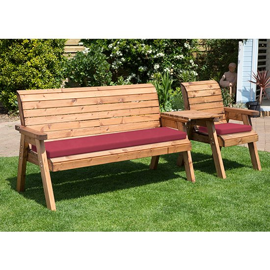 Cimo Straight 3 Seater Bench And Chair Set And Burgundy Cushion