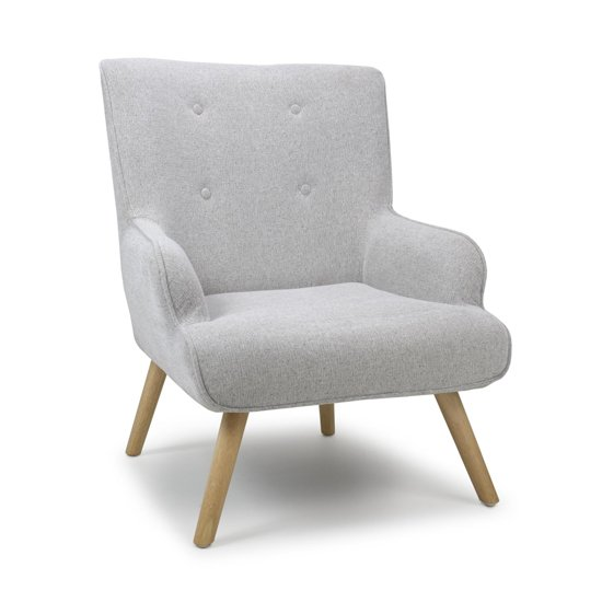 Cinema Flax Effect Armchair In Silver Grey