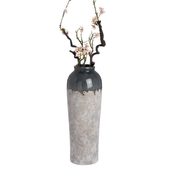 Product photograph showing Cinram Ceramic Large Decorative Vase In White And Blue