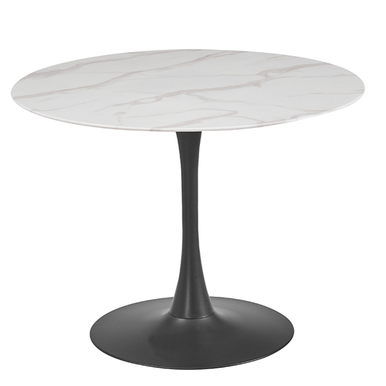 Circe Marble Print Glass Dining Table In White