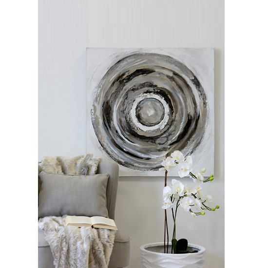 Circle Canvas Oil Painting In Wooden Frame With Aluminium Trim