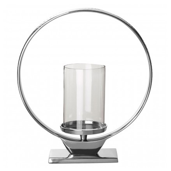 Circus Glass Medium Candle Holder In Silver Aluminium Frame