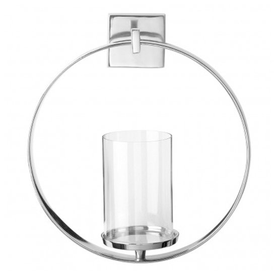 Circus Glass Wall Sconce Candle Holder In Silver Aluminium Frame