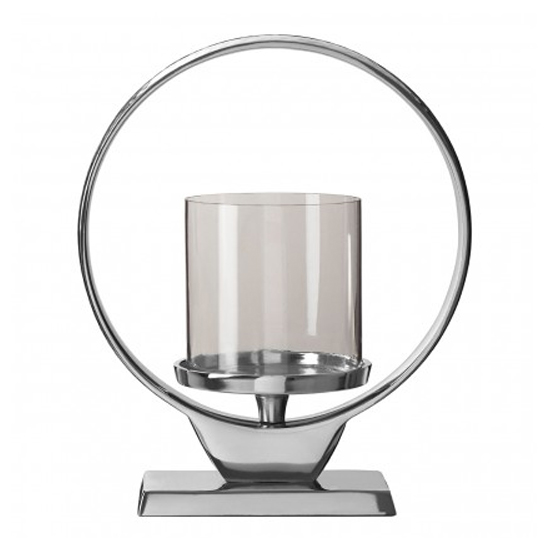 Circus Glass Small Candle Holder In Silver Aluminium Frame