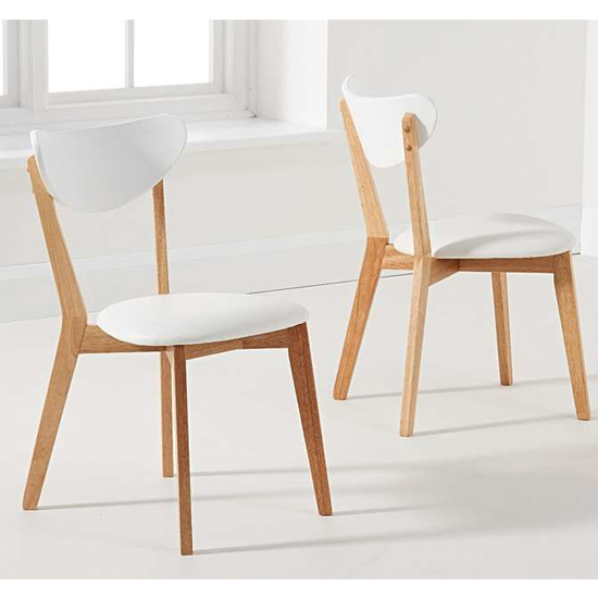 Citala Oak And White Faux Leather Dining Chairs In Pair