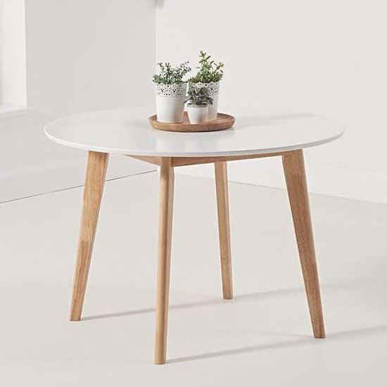 Citala Round Wooden Dining Table In Oak And White_1
