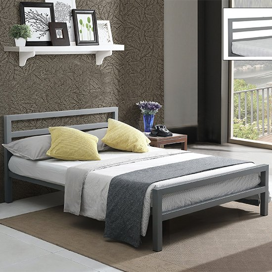 Product photograph showing City Block Metal Vintage Style King Size Bed In Grey