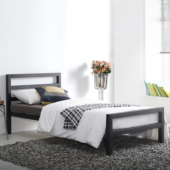 City Block Metal Vintage Style Single Bed In Black