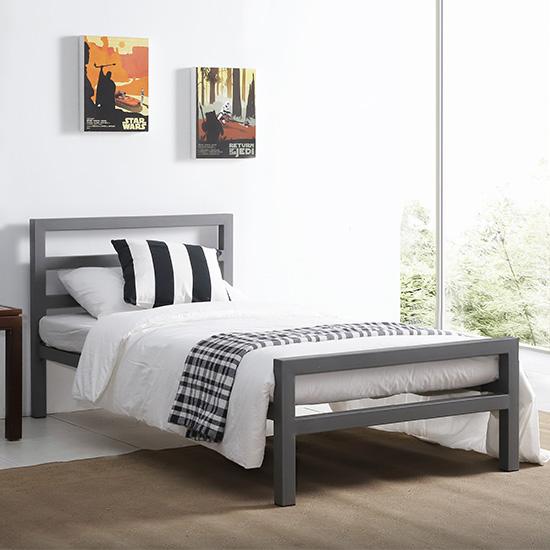 View City block metal vintage style single bed in grey