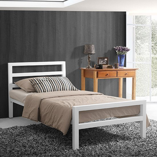 City Block Metal Vintage Style Single Bed In White