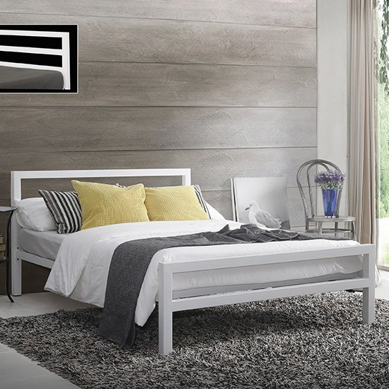 View City block metal vintage style small double bed in white
