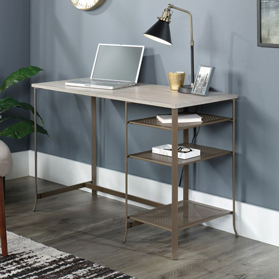 City Centre Wooden Laptop Desk In Champagne Oak With Metal Frame