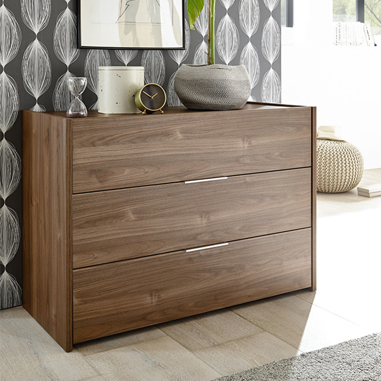 Civic Chest Of Drawers Dark Walnut With 3 Drawers