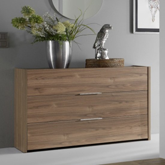 Civic Chest Of Drawers In Stelvio Walnut With 3 Drawers
