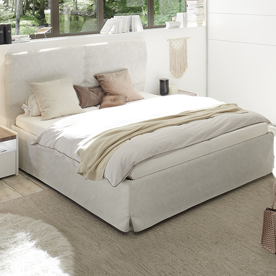 Civic Faux Leather Double Bed In Clay Effect_1