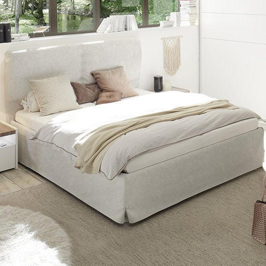 Civic Faux Leather King Size Bed In Clay Effect