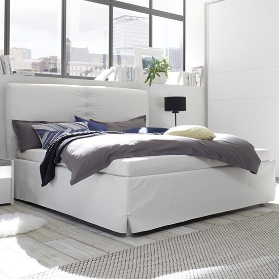 Civic Faux Leather King Size Bed In White