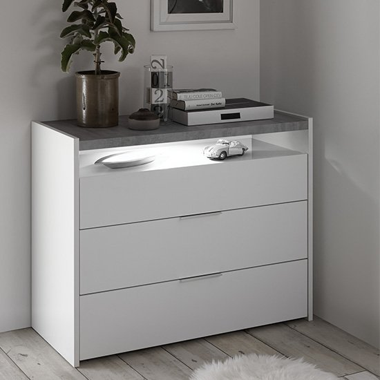 Civic LED Wide Chest Of Drawers Matt White And Cement Effect