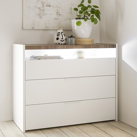 Civic LED Wide Chest Of Drawers Matt White And Stelvio Walnut