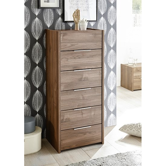 Civic Narrow Chest Of Drawers Dark Walnut With 6 Drawers