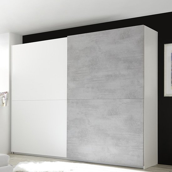 Civic Slide Door Wardrobe In Matt White And Cement Effect