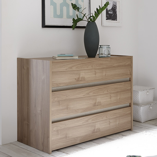 Civic Wide Chest Of Drawers Stelvio Walnut And Clay Effect