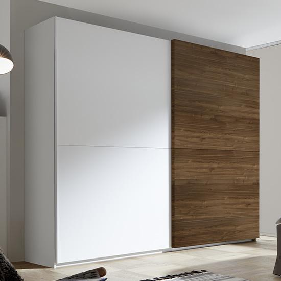 View Civic wide slide door wardrobe in matt white and dark walnut