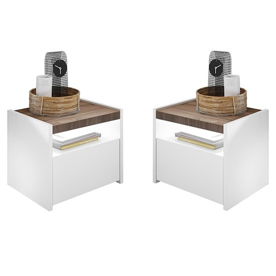 Civic Wooden Matt White And Dark Walnut Nighstands In Pair