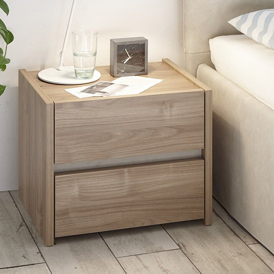 Civic Wooden Stelvio Walnut And Clay Effect Nightstands In Pair_2