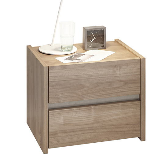 Civic Wooden Stelvio Walnut And Clay Effect Nightstands In Pair_3