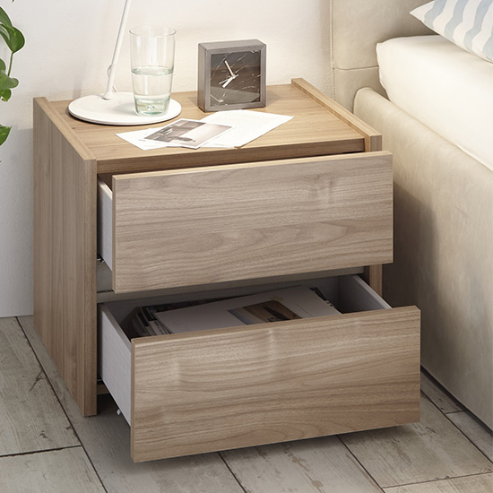 Civic Wooden Stelvio Walnut And Clay Effect Nightstands In Pair_4