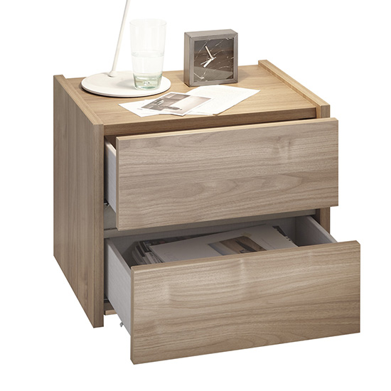 Civic Wooden Stelvio Walnut And Clay Effect Nightstands In Pair_5