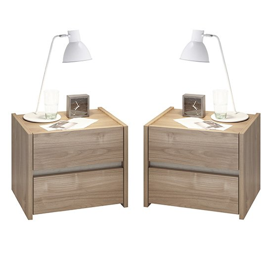 Civic Wooden Stelvio Walnut And Clay Effect Nightstands In Pair
