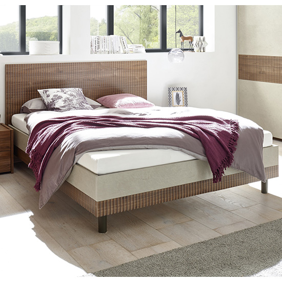 Civica King Size Bed In Serigraphed Dark Walnut And Clay Effect