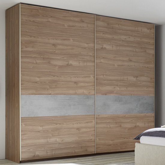 Civica Sliding Door Tall Wardrobe In Stelvio Walnut And Cement