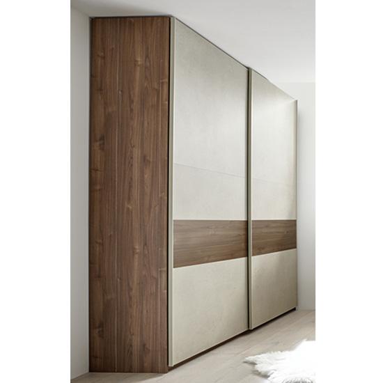View Civica sliding door wardrobe in dark walnut and clay effect